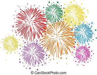 vector, colorido, fuegos artificiales, blanco, plano de fondo