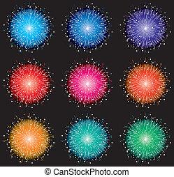 vector, colorido, fuegos artificiales