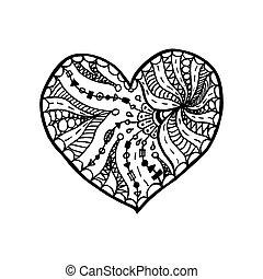 vector, colorido, heart., garabato, símbolo, valentines, ...