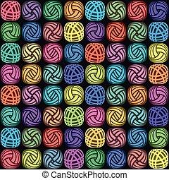 vector, colorido, hilo, pelotas
