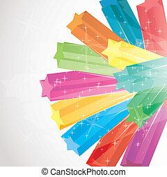 vector, colorido, ilustración, destello, estrellas, plano de...