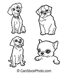 vector, colorido, lindo, caricatura, perro, conjunto, página, ilustración