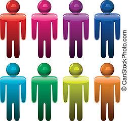 vector, colorido, macho, símbolos