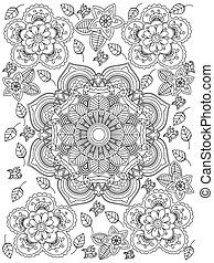 vector, colorido, mandala, adultos, flor