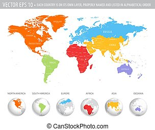 vector, colorido, mapa del mundo