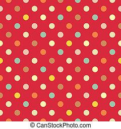 vector, colorido, puntos, fondo rojo