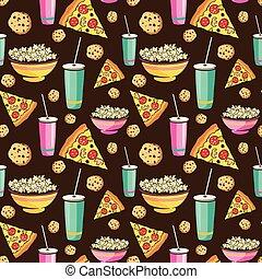 vector, colorido, sleepover, película, noche, comida de la...