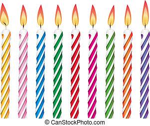 vector, colorido, velas de cumpleaños