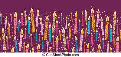 vector, colorido, velas de cumpleaños, horizontal, seamless,...
