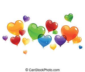 vector, colorido, vuelo, corazón, globos