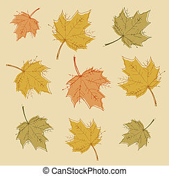 vector., coloridos, abstratos, leaves., outono, fundo