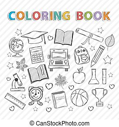 Vector coloring book. Education.