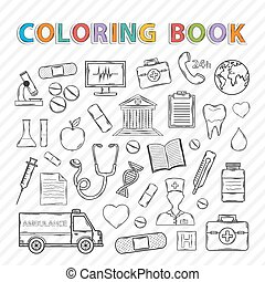 Vector coloring book. Hand drawn icons set