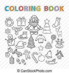 Vector coloring book. Merry Christmas