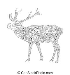 Vector coloring book page for adults. Patterned deer drawing. Hand Drawn doodle vector illustration. Zentangle Style.