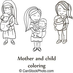 Vector coloring book set. Happy mothers carrying their childs