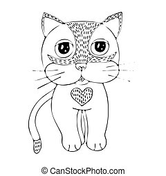 Vector coloring page outline of cartoon cat coloring book for kids.