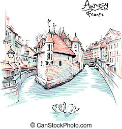 Annecy, Venice of the Alps, France. - Vector colour drawing,...