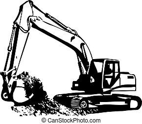 Excavator  - Vector colour Excavator icon