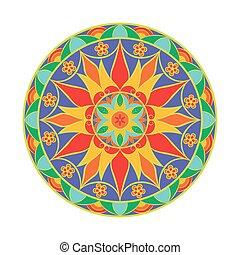 Vector Colour Flower Mandala. Ethnic decorative element.
