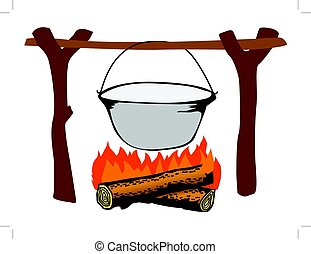 campfire with kettle