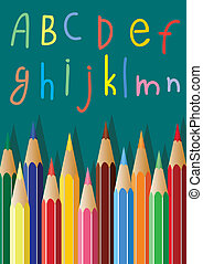 coloured pencils and alphabet lette - vector coloured...