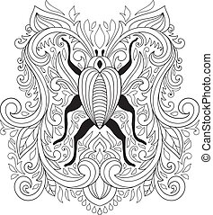 Vector Colouring Pages. Floral Composition with bug