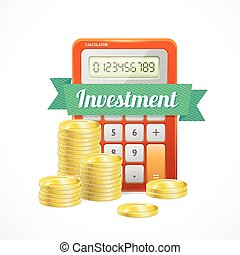 Vector columns of gold coins with calculator
