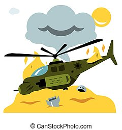 Vector Combat helicopter crash. Flat style colorful Cartoon illustration.