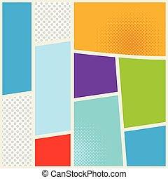 Vector comic book. Page design template. Color