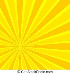Vector Comic Book Sun Rays, Bright Yellow Background.