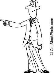 Vector Comic Cartoon of Man or Businessman Showing or Pointing at Something.