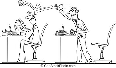 Vector Comic Cartoon of Office Worker or Businessman Throwing Crumpled paper Ball on Colleague. Bullying in Work.