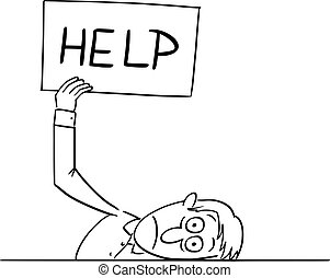 Vector Comic Cartoon of Tired or Frustrated or Sick Man or Businessman Lying on Table and Holding Help Sign, Concept of Stress and Burnout