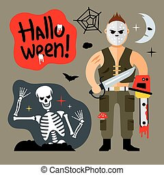 Vector Comic Crazy maniac. Halloween Scene Cartoon illustration