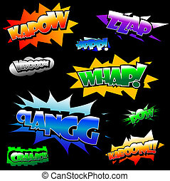 Vector comic text - Vector illustration of several comicbook...
