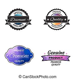 Vector commercial stamps set in polygonal style for business and design.