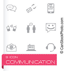 vector, communicatie, set, black , iconen