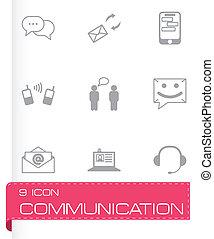 vector, communicatie, set, black , iconen