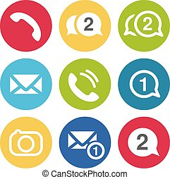 Vector communication chat icons. Circular buttons for chat or forum with earphone, camera, message and envelope symbol.