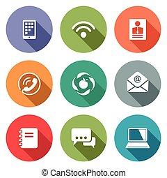 Vector Communication flat icons set - Communication icon...