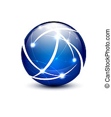 Blue vector communication globe icon concept design