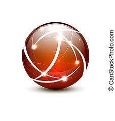 Vector communication globe icon concept - Orange vector ...