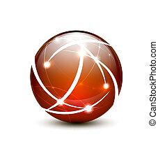 Orange vector communication globe icon concept design