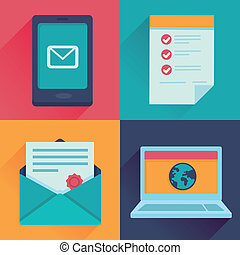 Vector communication icons in flat retro style - mail,...