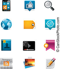 Set of the colorful communication and social media related icons