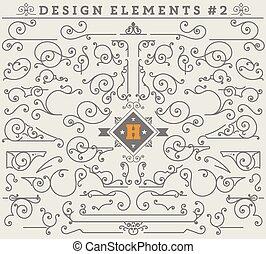 vector, communie, liggen, ouderwetse , decoraties, ontwerp, versieringen, 2.
