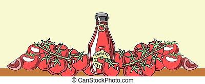 vector, communie, natuurlijke , achtergrond, gezonde , fles, menu, voedsel., tomatoe, advertisement., products., organisch, sauce., vers plantaardig, bar, gemaakt, spandoek, ketchup, illustration.