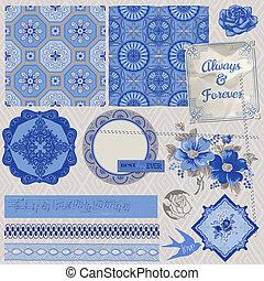 vector, communie, ouderwetse , porselein, -, vastgesteld ontwerp, bloem, plakboek