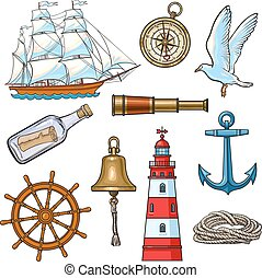 vector, communie, spotprent, illustratie, nautisch